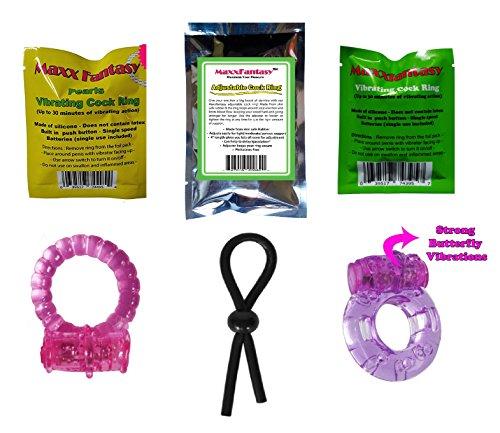 MaxxFantasy 5 Pack Combo Contain Donut, beaded, Vibrating ring, pearls vibrating ring, Penis Tie