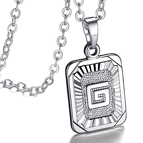 FOCALOOK Monogram Necklace A-Z 26 Letters Pendants Platinum Plated Square Script Initial Jewelry with Stainless Steel 22 Inch Chain, Capital Alphabet Necklaces for Women Girls (Letter G)