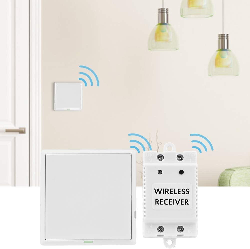 1 switch + 1 receiver Transmisor de Interruptor de Control Remoto Inal/ámbrico RF Con 1 Interruptor Kit de Interruptor de Luces Inal/ámbricas 1 Receptor