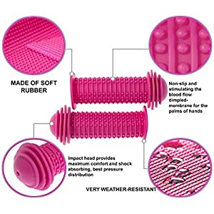 PROMETHEUS Kids Bike Grips 1 Pair in pink | with SAFETY BAR END PADS | also for balance bike and scooter | 22 mm Handlebar Grips | Child Safety Grip with SAFETY IMPACT ENDS | Edition 2018