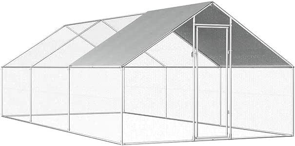 Goofly Outdoor Chicken Cage Walk-in Chicken Coop Rabbit Habitat Cage Galvanised Steel Hen Run House 2.75x6x2 m
