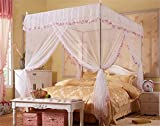 Luxury Mosquito Net Bed Canopy by JQWUPUP - 4 Corner Poster Princess Lace Netting Bedding For Girls, Toddlers & Adults - Bedroom Decor Block Insects (Full Size, White)