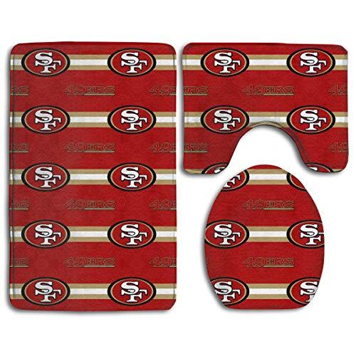 zhong-LRS.guo !!! Custom Colorful Doormat American Football Team San Francisco 49ers Indoor Bathroom Anti-Skid Mats,3 Piece Non-Slip Bathroom Rugs,Non-Slip Mat Bath + Contour + Toilet - Table Pub San Francisco 49ers