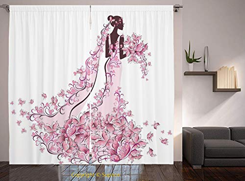 - Living Room Bedroom Window Drapes/Rod Pocket Curtain Panel Satin Curtains/2 Curtain Panels/84 x 84 Inch/Wedding Decorations,Flowers Hearts Butterflies on Wedding Dress Bridal Gown,Light Pink Maroon Wh