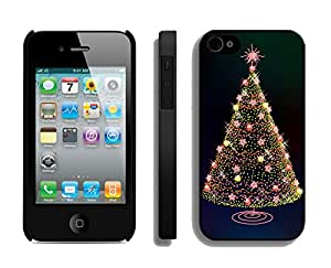 Iphone 4S Case,Stars Birht Lights Christmas Tree Silicone Black Case For Apple Iphone 4/Iphone 4s Cover Case