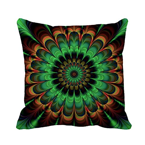 - Awowee Throw Pillow Cover Brown Fractal Abstract Flower in Verdigris Colors Digitally Rendered 16x16 Inches Pillowcase Home Decorative Square Pillow Case Cushion Cover