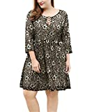 Allegra K Women's Plus Size Lace-up Above Knee Lace Flare Dress 2X Gold