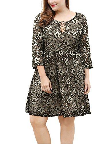 Agnes Orinda Mujer Talla extra mangas 3/4 por encima rodilla delantera Lace-Up encaje vestido Llamarada Black