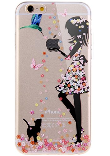 6 Plus Case, iPhone 6S Plus Case, GNT(TM) Ultra Slim Perfect Fit Angel Girl Flower Fairy Design Pattern TPU Clear Transparent Back Cover Case for iPhone 6 6S Plus 5.5 inch - Floral Dress Cat girl