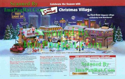 (Simpsons Christmas Village: from Hawthorne: Bart, Homer, Kwik-E-Mart, Moe's: Great Original Print Ad!)
