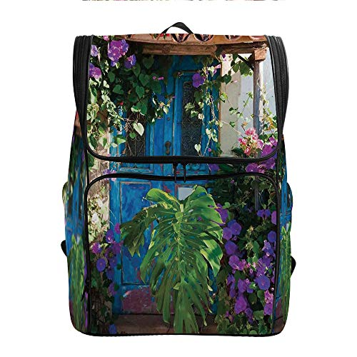 SCOCICI Computer Backpack,Charm of Old Door with,Gift for Starting School