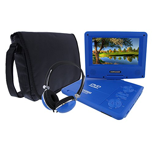 KORAMZI 7 inch Portable DVD Player with Rechargeable Battery, SD Card Slot and USB Port Swivel and Fold Portable DVD/CD/MP3 Player with Matching Color Headphones AC/DC Adapter (Blue)