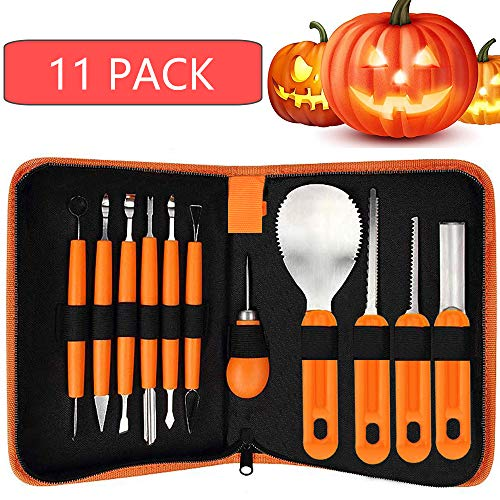 Halloween Pumpkin Carving Tools,Luxital Halloween New Generation 11Pcs Professional Pumpkin Cutting Supplies Tools Kit Stainless Steel with Stencils for Halloween Decoration