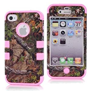 SHHR-HX4G118N Tree Camo Design Hybrid Cover Case for Apple iPhone4 4s 4G -Light Pink Color