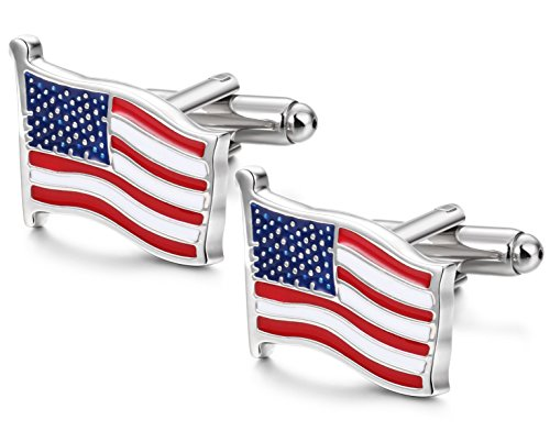 FIBO STEEL American Flag Cufflinks for Men Business Wedding 1 Pair 1 Dad Cufflinks