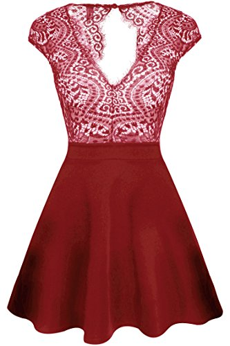 Zeagoo Women's V Neck Lace Floral Open Back Skater Cocktail Wedding Party Dress #Red Large