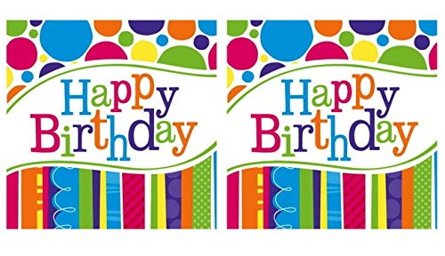 (2 Pack of 18 Creative Converting Bright and Bold Happy Birthday Lunch Napkins)