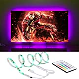 LED TV Backlight 4m/13.12ft RGB LED Light Strips for 65-70 inches HDTV with 20 Colors Bias Lighting Remote (White 65'' - 70'')