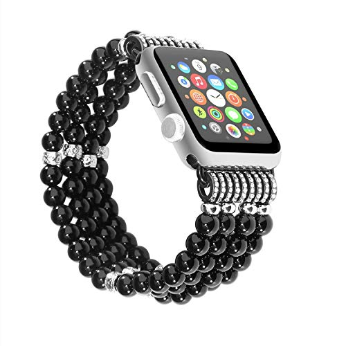 Solomo Bracelet Compatible for Apple Watch Band 42MM 44MM, Decorated Handmade Luxury Jewelry Faux Pearl Bracelet Elastic Stretch iWatch Strap with Women Wristband for Iwatch Series 4/3 /2/1 (Black)