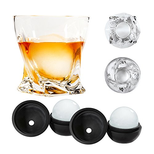 Atlas&Co Premium Whiskey Glasses with ADD-ON Ice Ball Molds – Set of 2 – Gift Set Cocktail Glasses for Bourbon, Irish Whisky, Scotch or, High-Clarity Crystal Glasses by Altas&Co