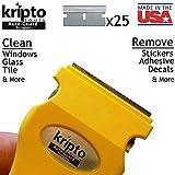 Yellow Razor Blade Scraper for Paint, Tint, Adhesive, Residue,...