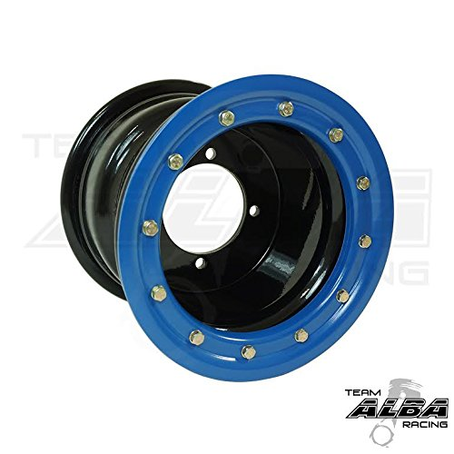 Honda TRX 450R TRX 400EX Beadlock Set of 4 Wheels Rims Rear 9x8 Front 10x5 Black / Blue