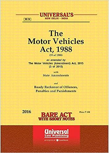 Motor Vehicles Act 1988 Amazon In Universal Law Publishing Books