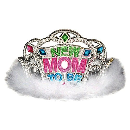 Amscan Delightful New Mom to Be Tiara Baby Shower Party Novelty Favors, 3-1/2 x 4-1/2″, Silver/White