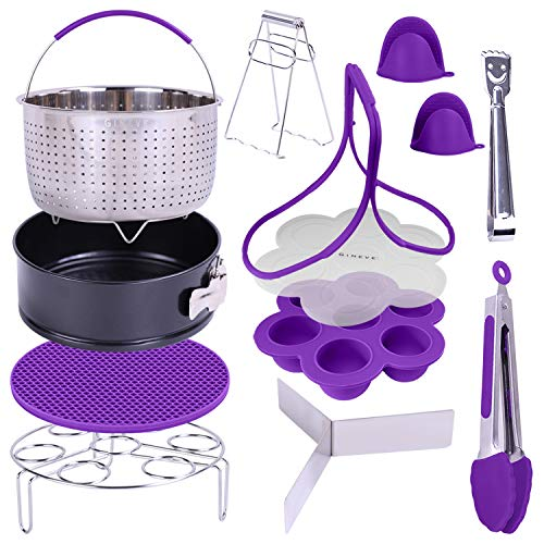 "Pressure Cooker Accessories Set | Fits Insta Pot 6 qt and Instapot 8 Qt Includes Steamer Basket 8"" Egg Bites Mold Springform Pan Egg Steamer Rack & Trivet Recipe eBook & Cheat Sheet Plus More"