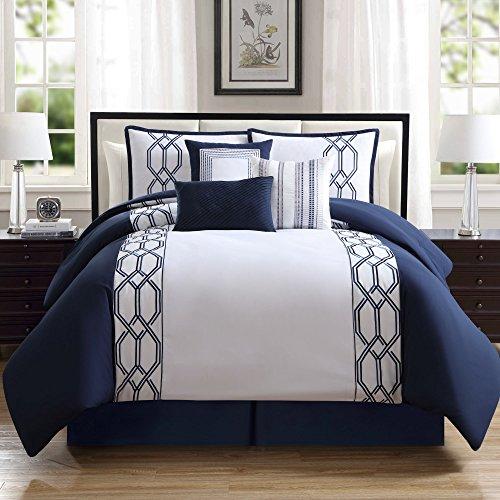 Hamilton Hall Renard Navy/White 7-piece Comforter Set King