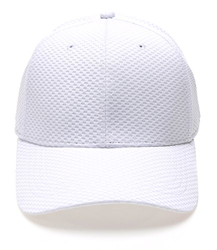 Plain Polyester Twill Baseball Cap Hat with Flex fit Elastic Band(1735,White) ()
