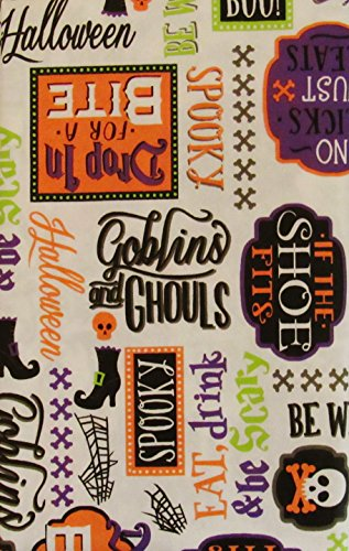 Halloween Be Witchy Goblins and Ghouls Spooky Symbols and Sentiments Vinyl Flannel Back Tablecloth (52