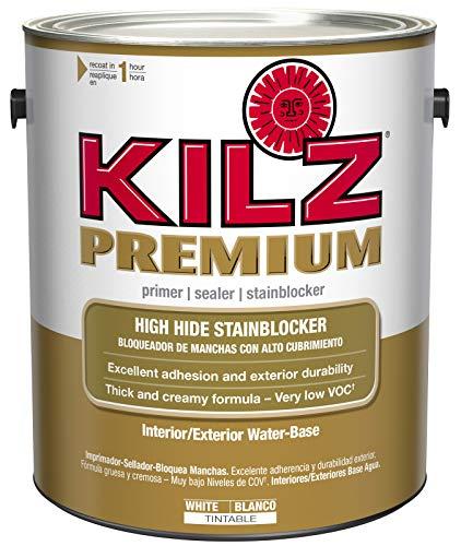 KILZ Premium High-Hide Stain Blocking Interior/Exterior Latex Primer/Sealer, White, 1-gallon (Best Exterior Paint Primer)