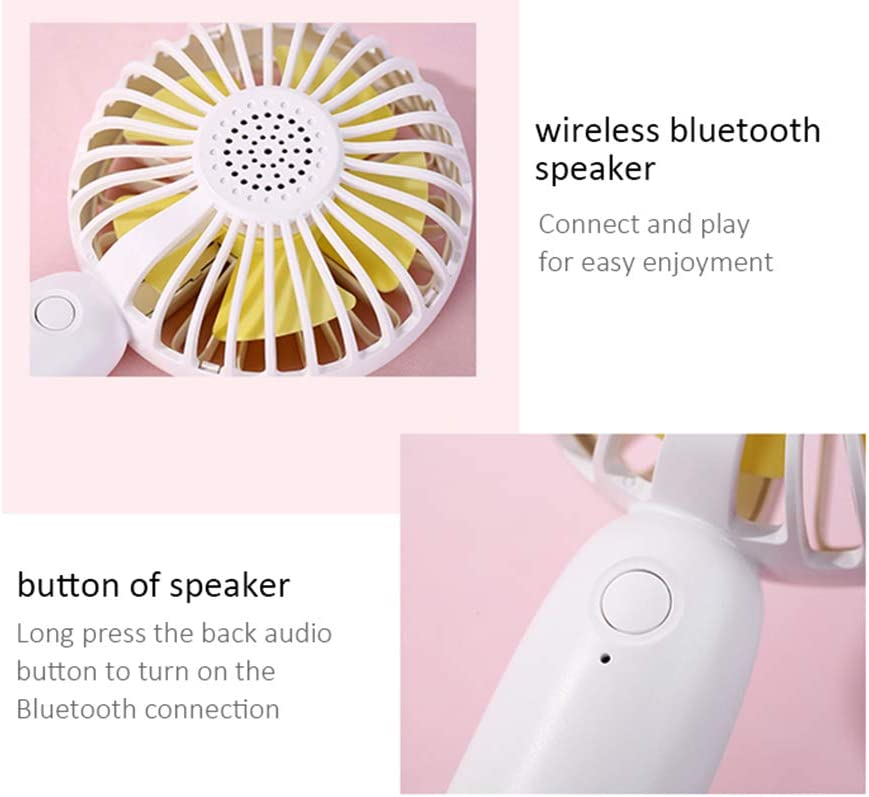 YANGYA Bluetooth Speaker USB Mini Fans Handheld Desktop Small Charging Connected to The Phone Suitable for Office Home Student Dormitory Travel-Pink