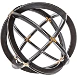 Medium Black & Gold Iron Band Decorative Sphere