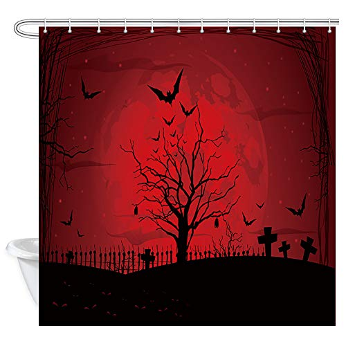 KOTOM Gothic Decor Shower Curtain, Scary Halloween with