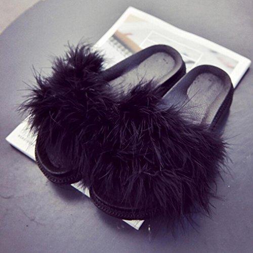 GBSELL Fashion Women Home Casual Fluffy Rabbit Fur Flat Slipper Sandal Shoes (5.5, Purple) Black