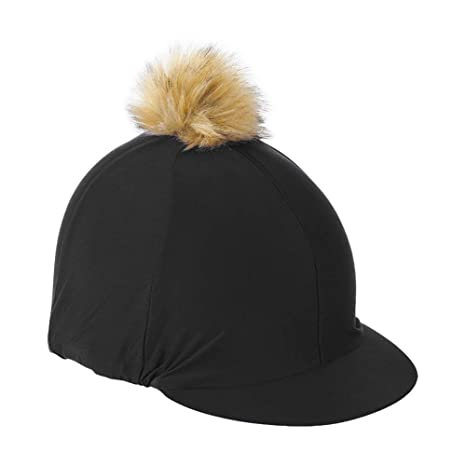 7507fb5859b Shires Pom Pom Hat Cover-Black One Size  Amazon.co.uk  Sports   Outdoors