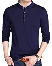 Macondoo Men's Knitted Long Sleeve Button Casual Henley Top Tee T-Shirts