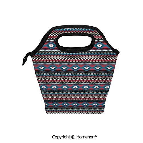 (Insulated Neoprene Soft Lunch Bag Tote Handbag lunchbox,3d prited with Primitive Style Aztec Folkloric Striped Antique Maya Patterns,For School work Office Kids Lunch Box & Food Container )