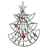 Northlight Lighted Christmas Tree with Silver Tinsel Star Window Or Wall Silhouette Decoration, 19''