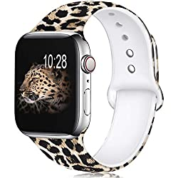 KOLEK Floral Bands Compatible with Apple Watch 38mm 40mm, Silicone Fadeless Pattern Printed Replacement Bands for iWatch Series 4 3 2 1, Leopard, S, M