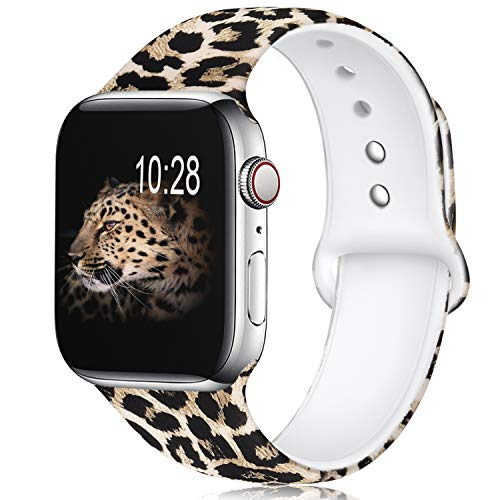 KOLEK Leopard Watch Band Compatible for Apple Watch 44mm/42mm, Soft Silicone Sport Bands Compatible for Series 1/2/3/4, S/M