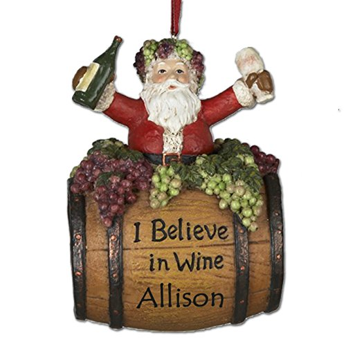 Kurt Adler Personalized Santa on Wine Barrel with Glass Christmas Ornament with Your - Pinot Blush Grigio
