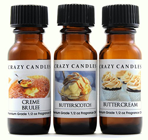 Crazy Candles 3 Bottles Set, 1 Creme Brulee, 1 Butterscotch, 1 Buttercream 1/2 Fl Oz Each (15ml) Premium Grade Scented Fragrance ()