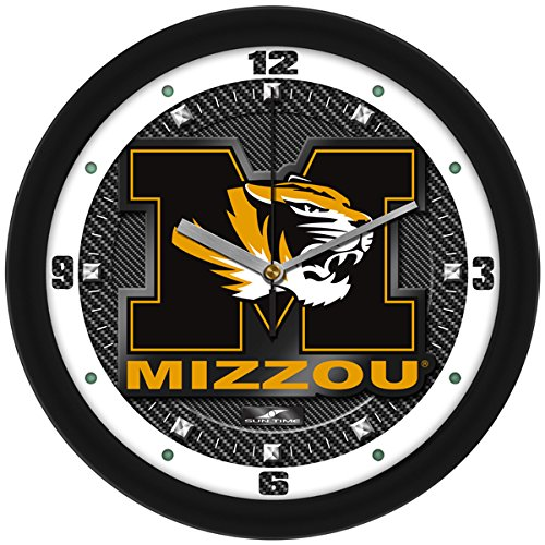 SunTime NCAA Missouri Tigers Textured Carbon Fiber Wall Clock