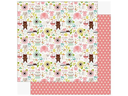 Echo Park Paper Animals/White Flowers On Pink Sweet Baby Girl Double-Sided Cardstock 12''X12''