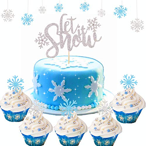 Set of 21 JeVenis Gorgeous Let's it Snow Cake Topper Snowflake Cupcake Toppers Snowflake Cake Decorations for Christmas Cake Decoration Winter wonderland Party