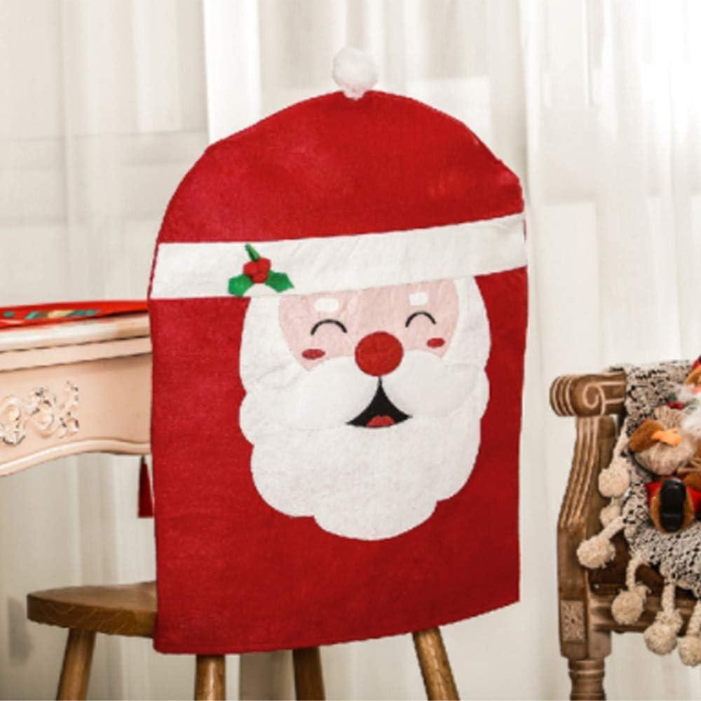 UEYR Presidente 4pcs / Lot de la Mesa de la Cena para sillas de la Cubierta del Casquillo de Papá Noel de Red Hat contraportadas Decoración de Navidad 2021
