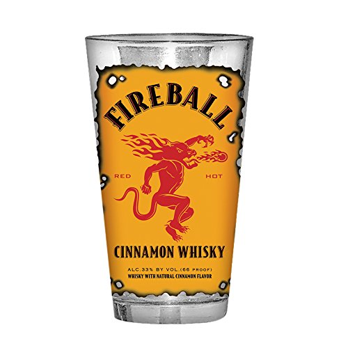 Silver Buffalo FBW10366 Fireball Whiskey Label Pint Glass, 16-oz, Multicolor